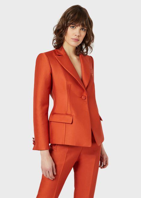 Single-breasted jacket in double gabardine