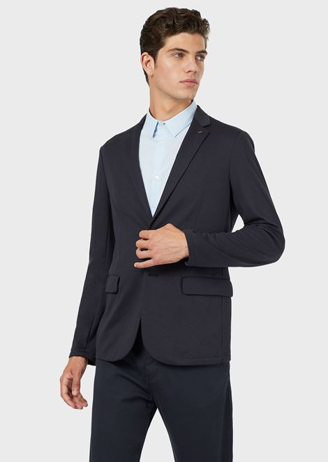Single-breasted jacket in interlock jersey