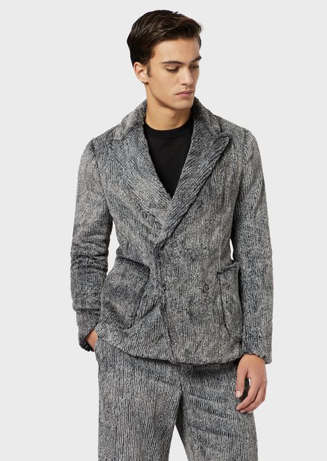Double-breasted jacket in a faux fur blend