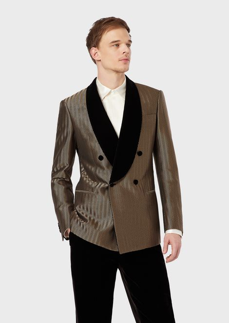 Slim-fit, half-canvas tuxedo jacket from the Soho range in chevron fabric