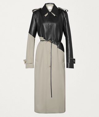 COAT IN COTTON GABARDINE AND LEATHER
