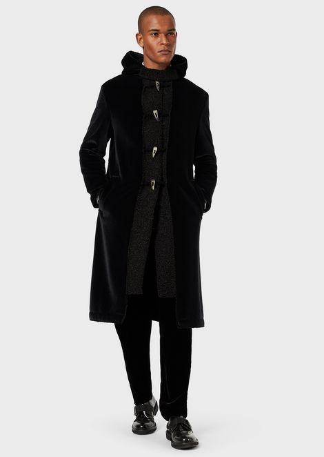 Velvet coat with bouclé detail