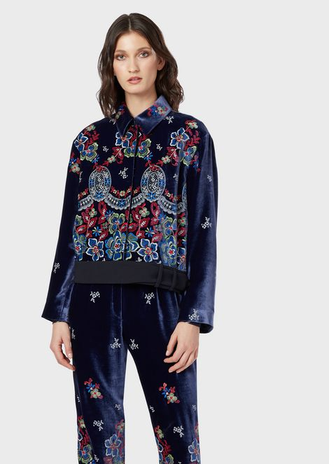 Floral embroidered velvet jacket