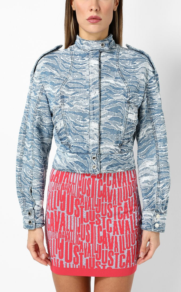 JUST CAVALLI Jacquard denim jacket Blazer Woman r