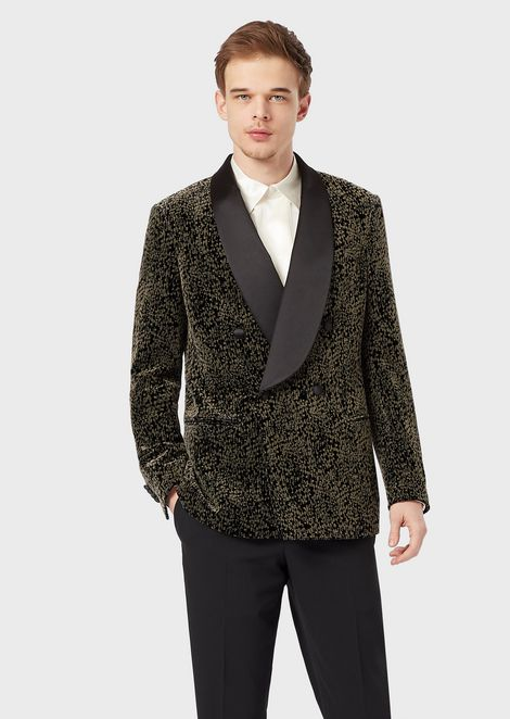 Slim-fit, half-canvas tuxedo jacket from the Soho range in flocked velvet