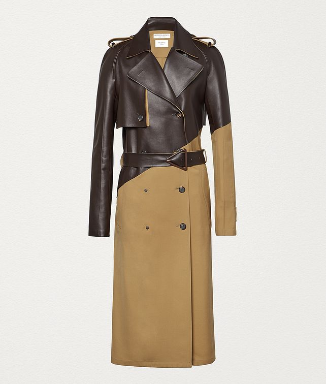 BOTTEGA VENETA TRENCH COAT IN GABARDINE AND LEATHER Outerwear and Jacket Woman fp