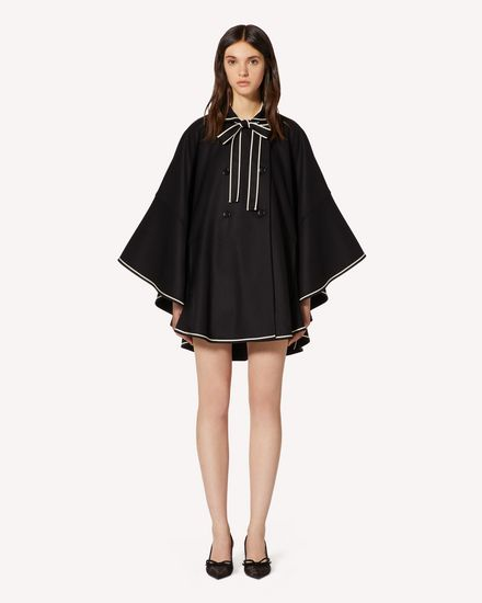 Wool felt cape with contrast details