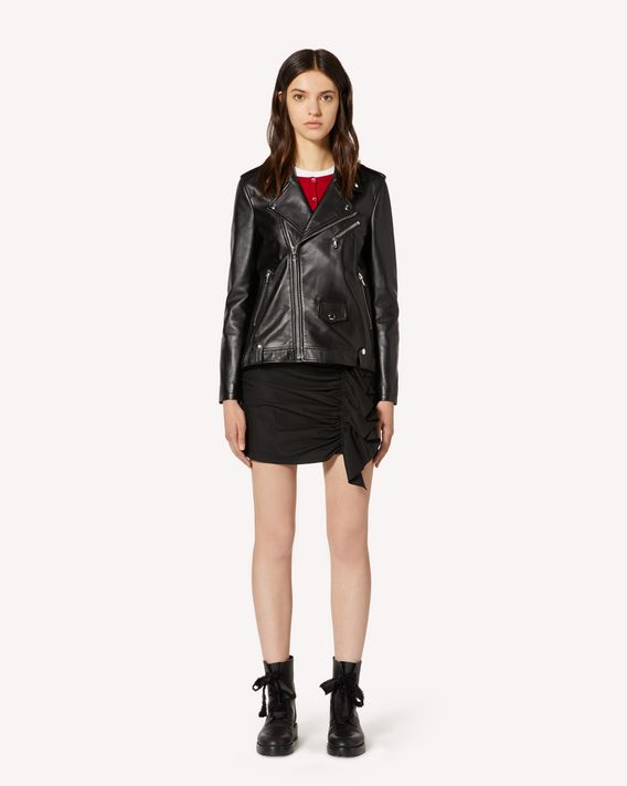 REDValentino Leather biker jacket with pleated detail