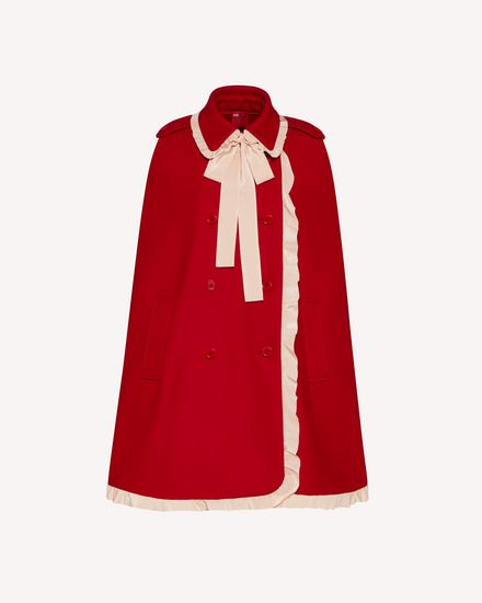 EXCLUSIVE CAPSULE COLLECTION Cashmere wool felt cape with ruffle detail