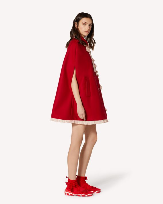 REDValentino EXCLUSIVE CAPSULE Ruffles detail wool cashmere cape