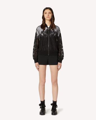 REDValentino Point d'esprit tulle bomber jacket with cut-out organza embroidery
