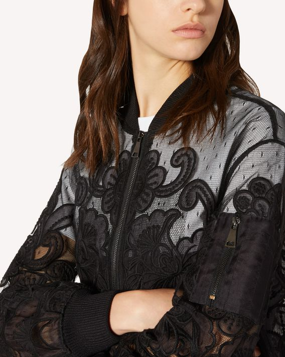 REDValentino Organza cut out embroidered point d'esprit tulle bomber jacket