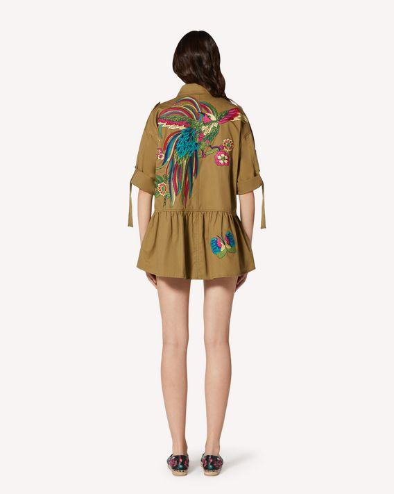 REDValentino Gabardine peacoat with Bird of Paradise in the Forest embroidery.