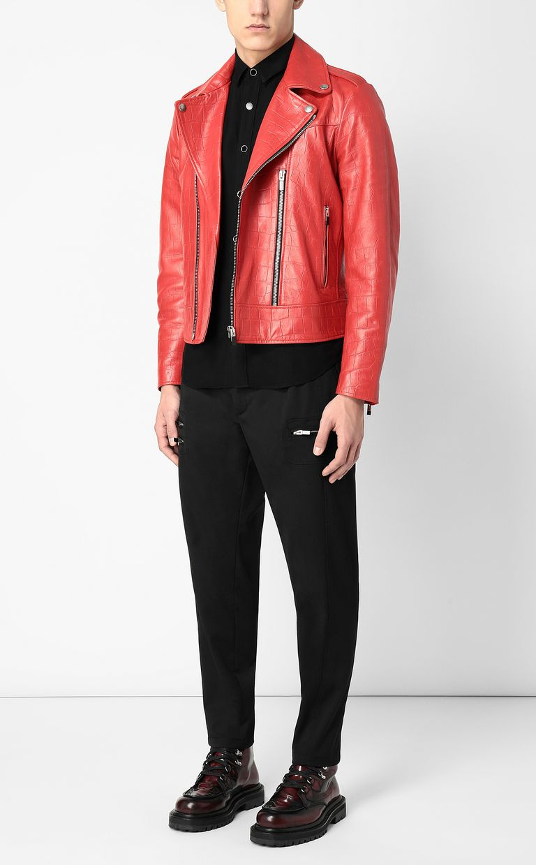 JUST CAVALLI Crocodile-effect biker jacket Leather Jacket Man d