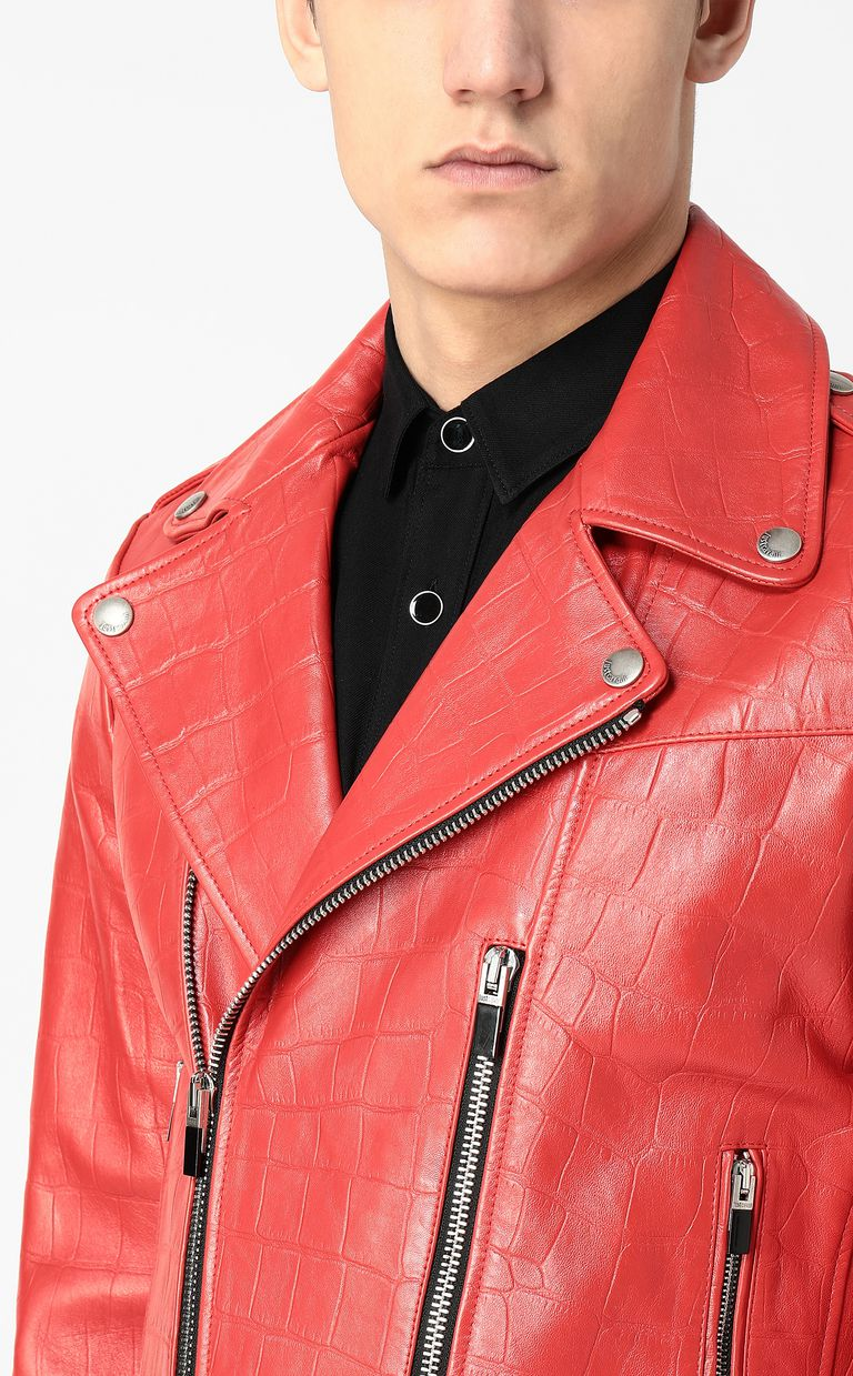 JUST CAVALLI Crocodile-effect biker jacket Leather Jacket Man e