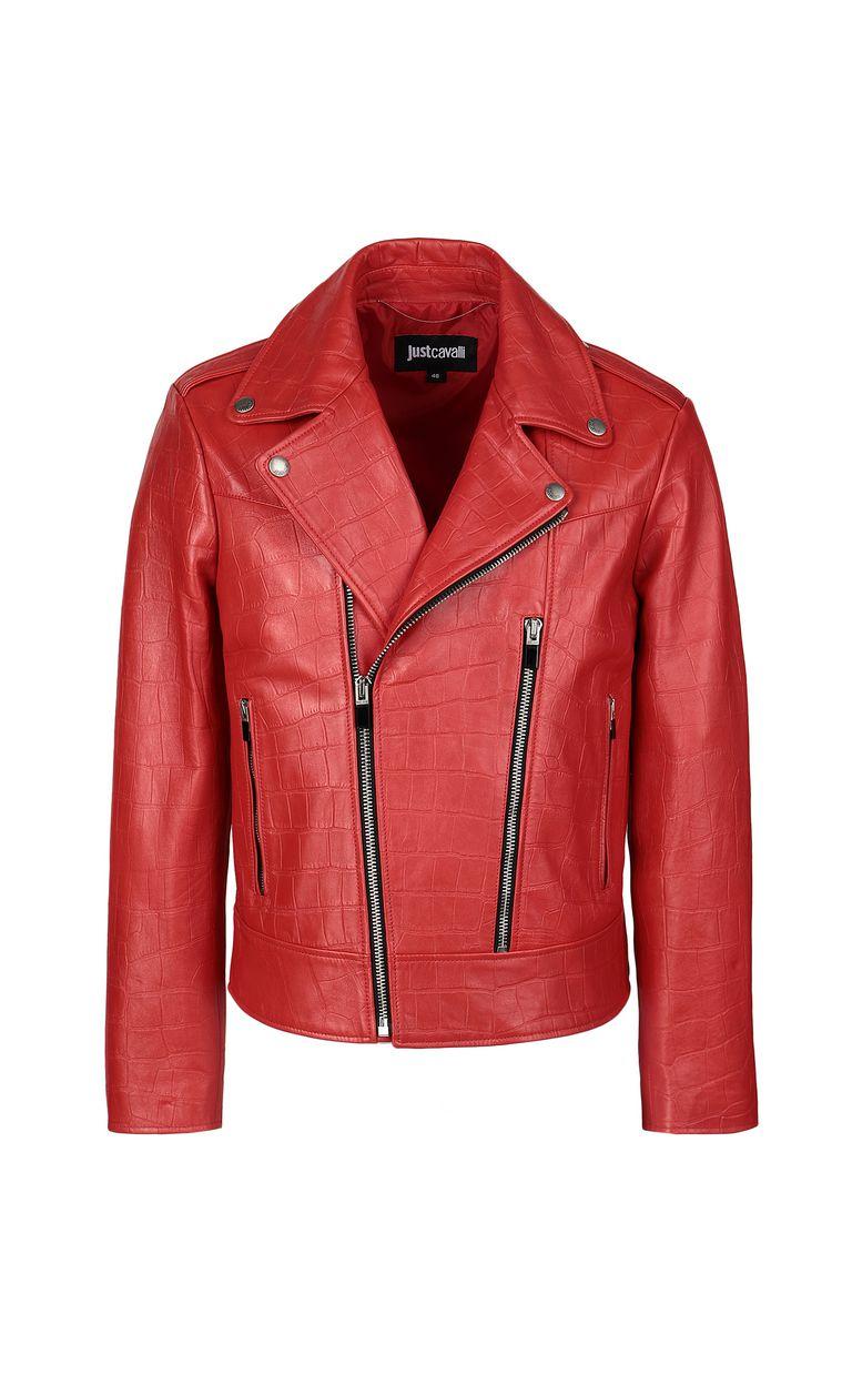 JUST CAVALLI Crocodile-effect biker jacket Leather Jacket Man f