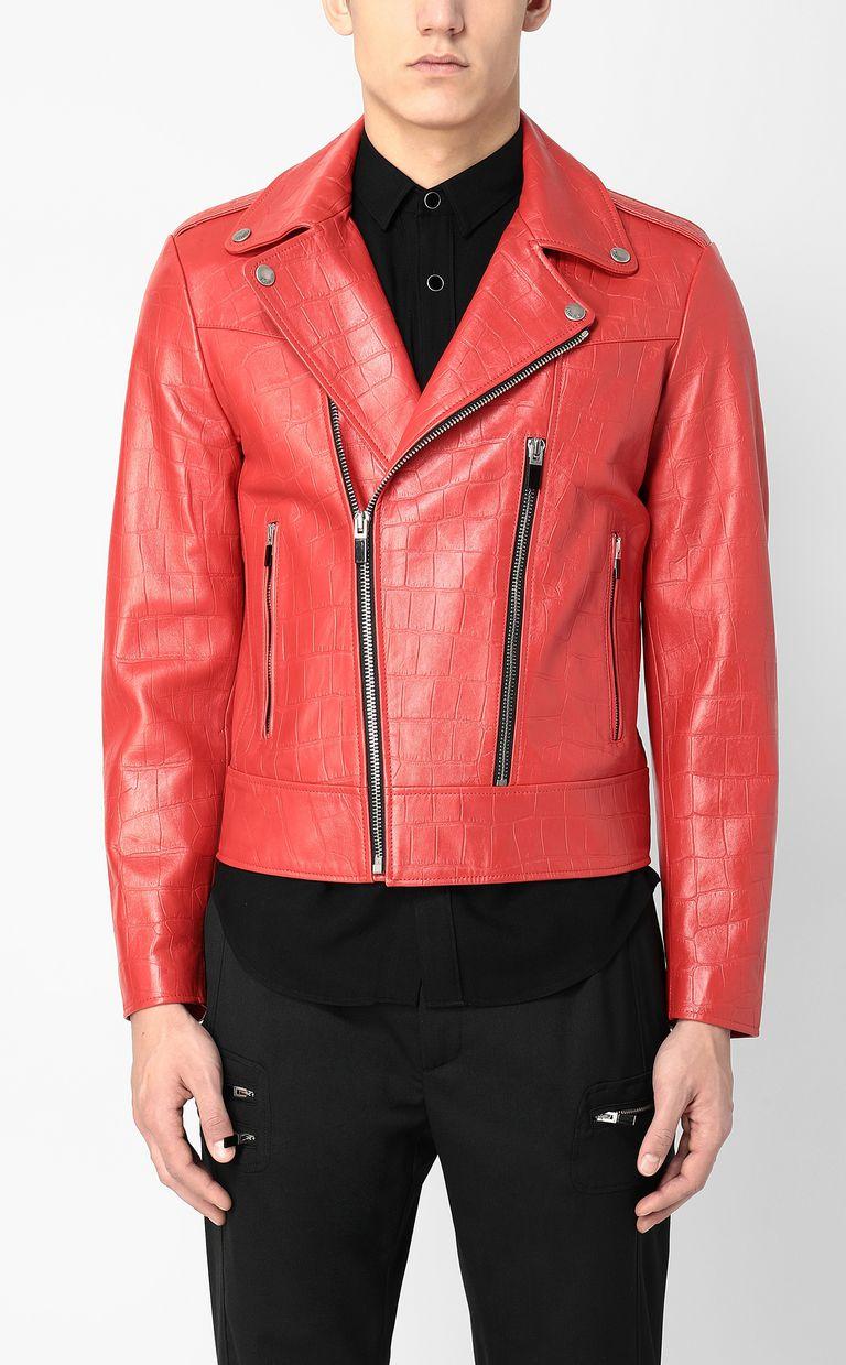 JUST CAVALLI Crocodile-effect biker jacket Leather Jacket Man r