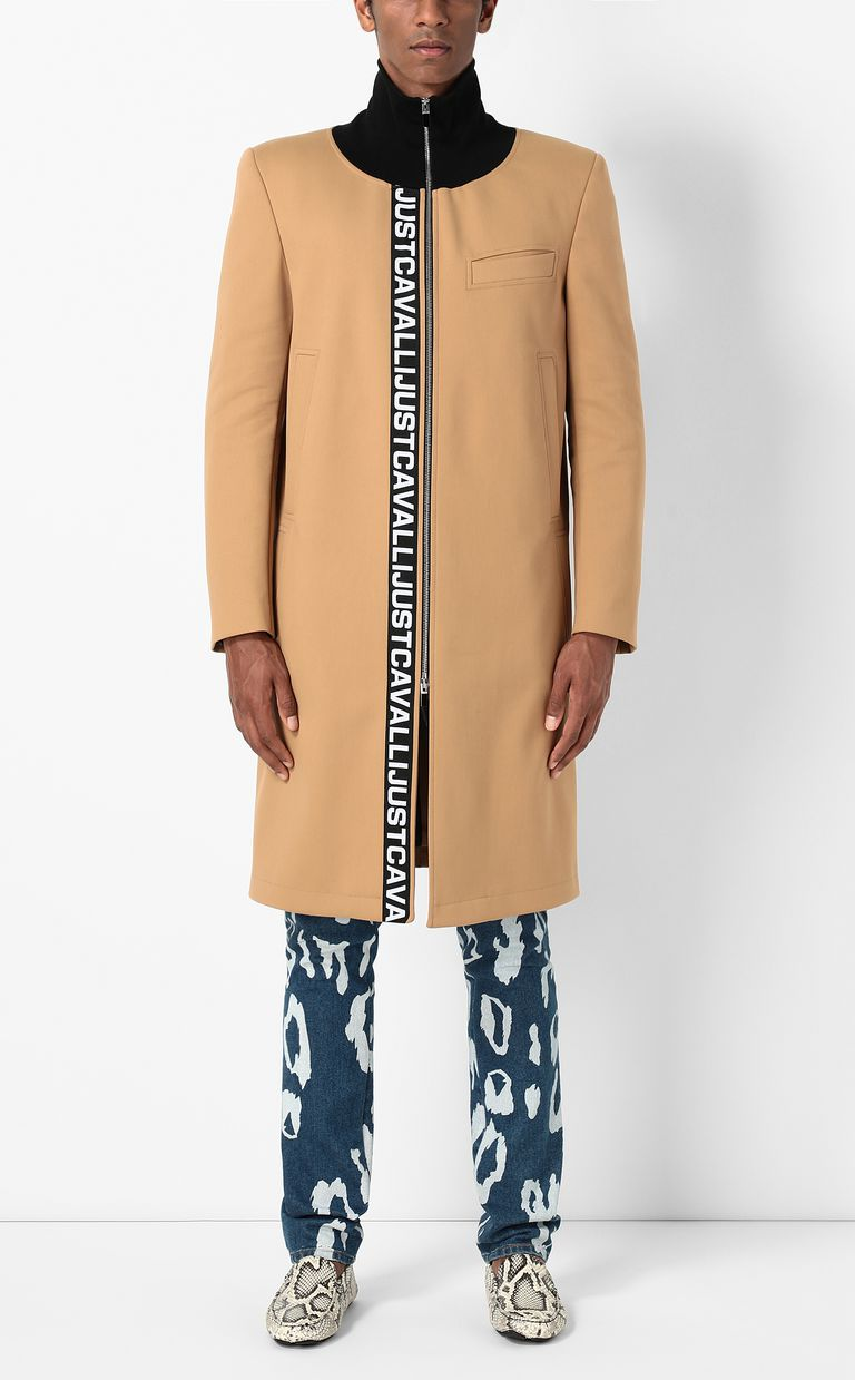 JUST CAVALLI Coat with logoed band Coat Man r