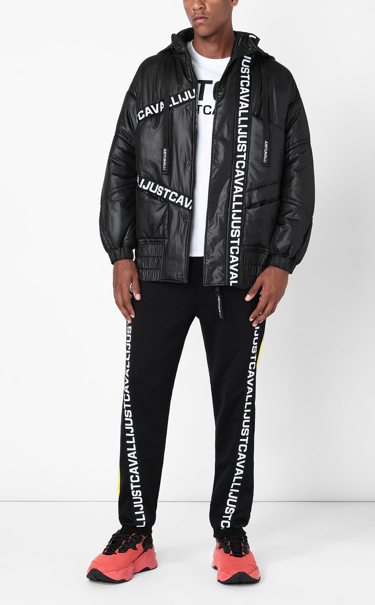 JUST CAVALLI Jacket with logoed band Down jacket Man d