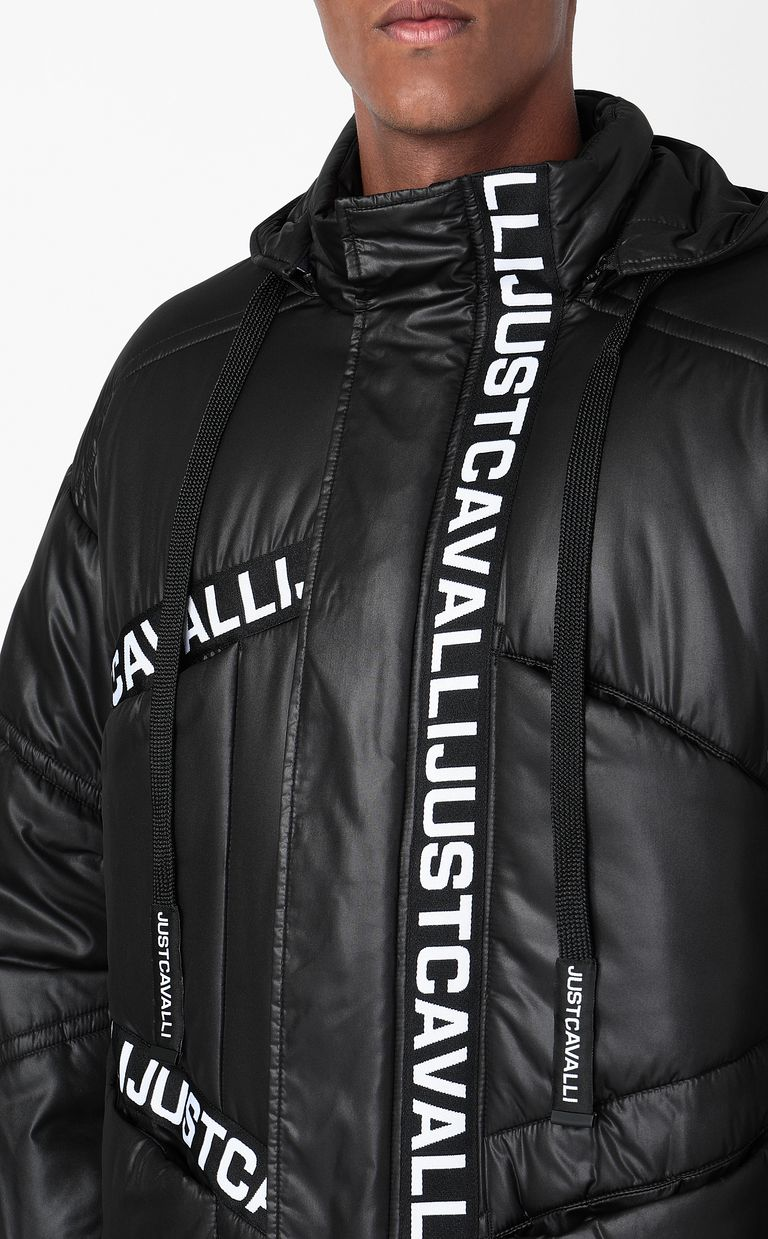 JUST CAVALLI Jacket with logoed band Down jacket Man e