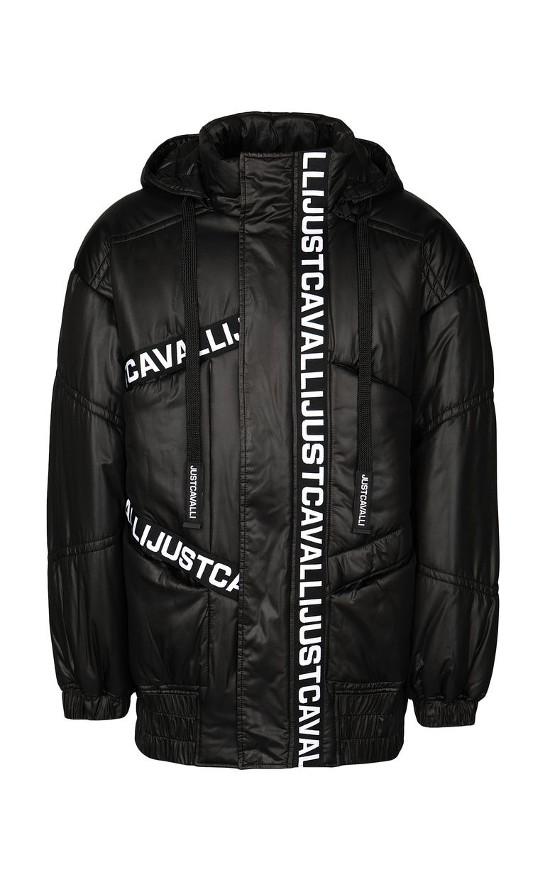JUST CAVALLI Jacket with logoed band Down jacket Man f
