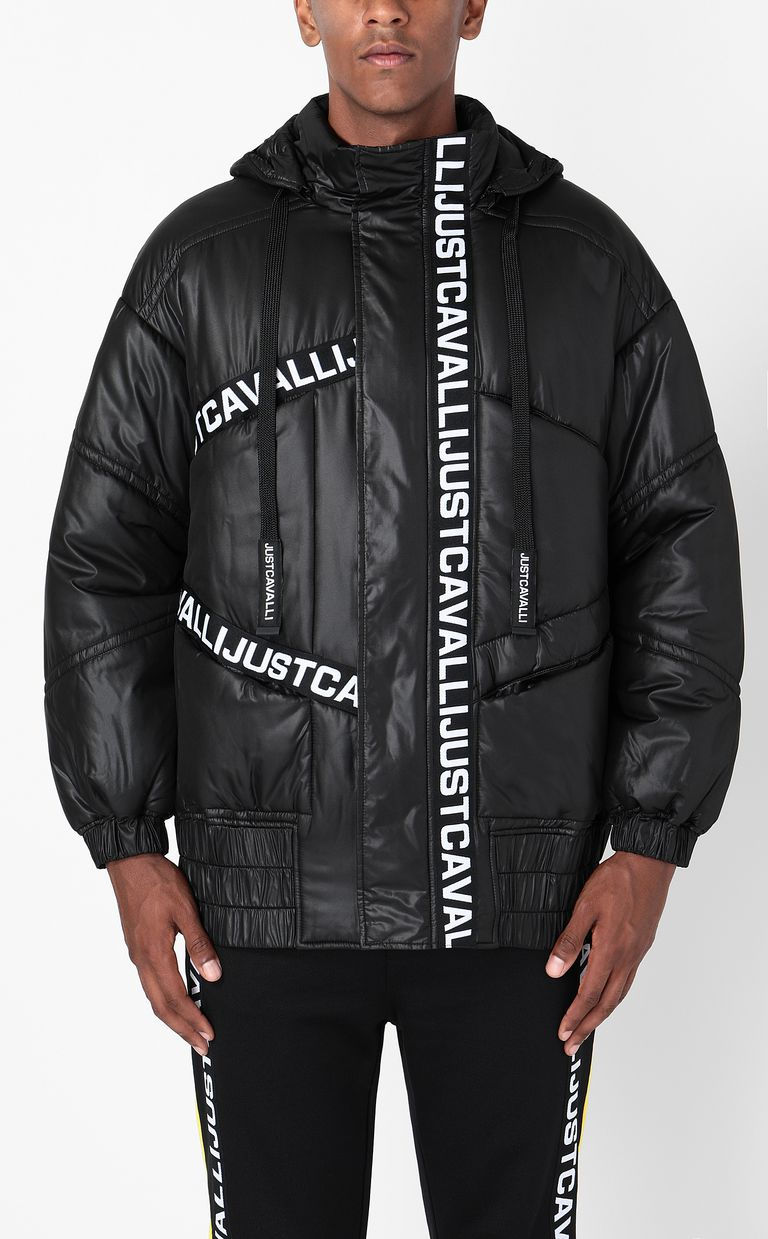JUST CAVALLI Jacket with logoed band Down jacket Man r