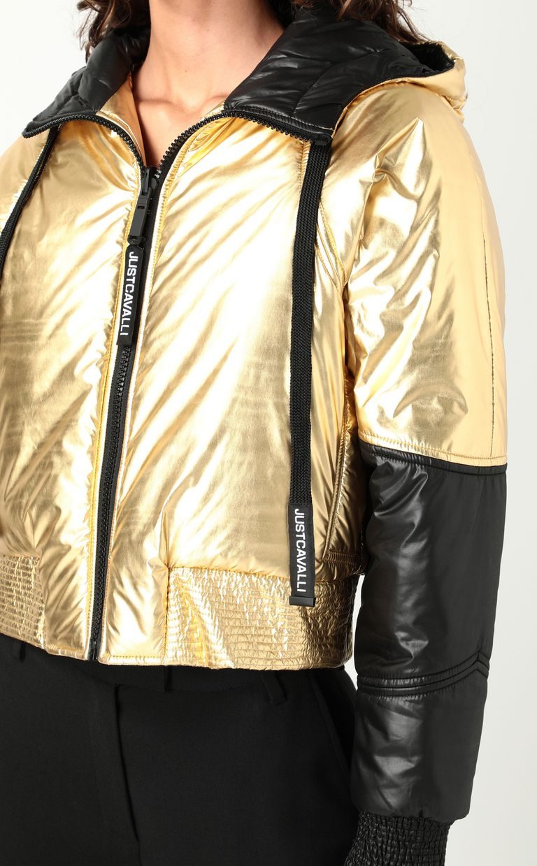 JUST CAVALLI Gold-tone short padded jacket Down jacket Woman e