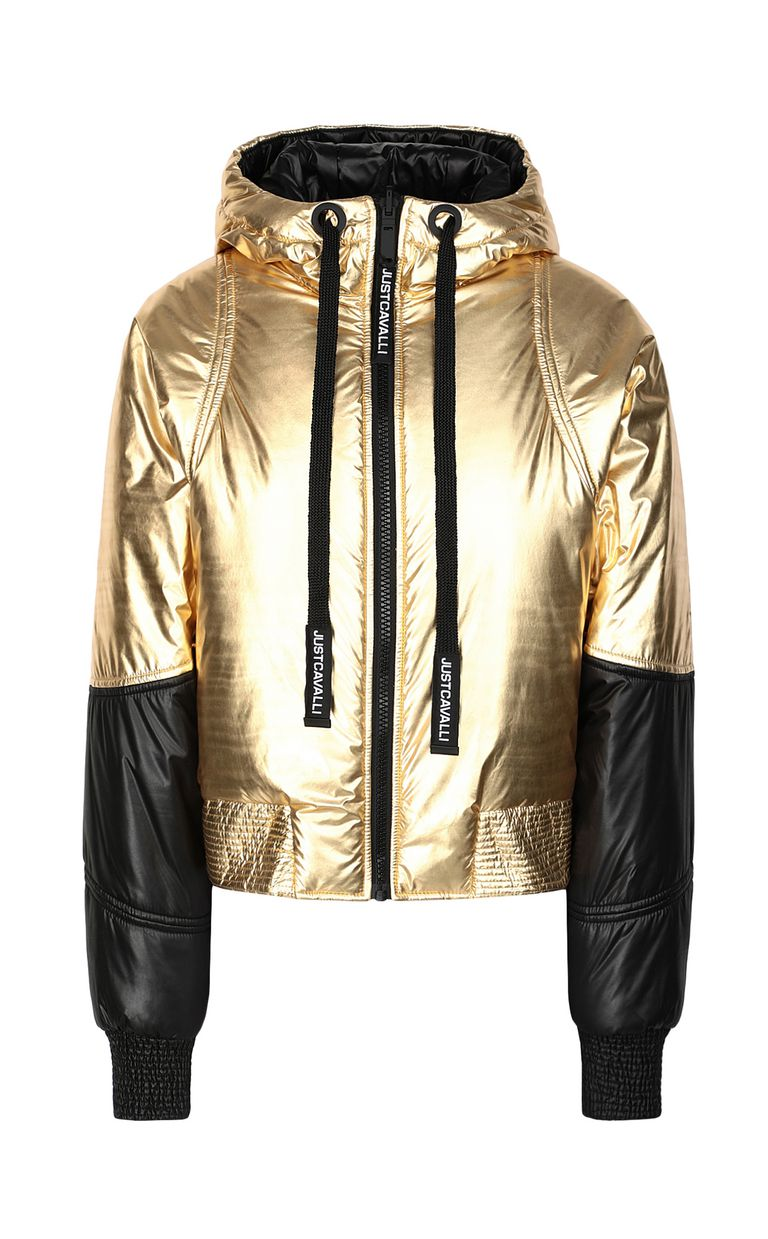 JUST CAVALLI Gold-tone short padded jacket Down jacket Woman f