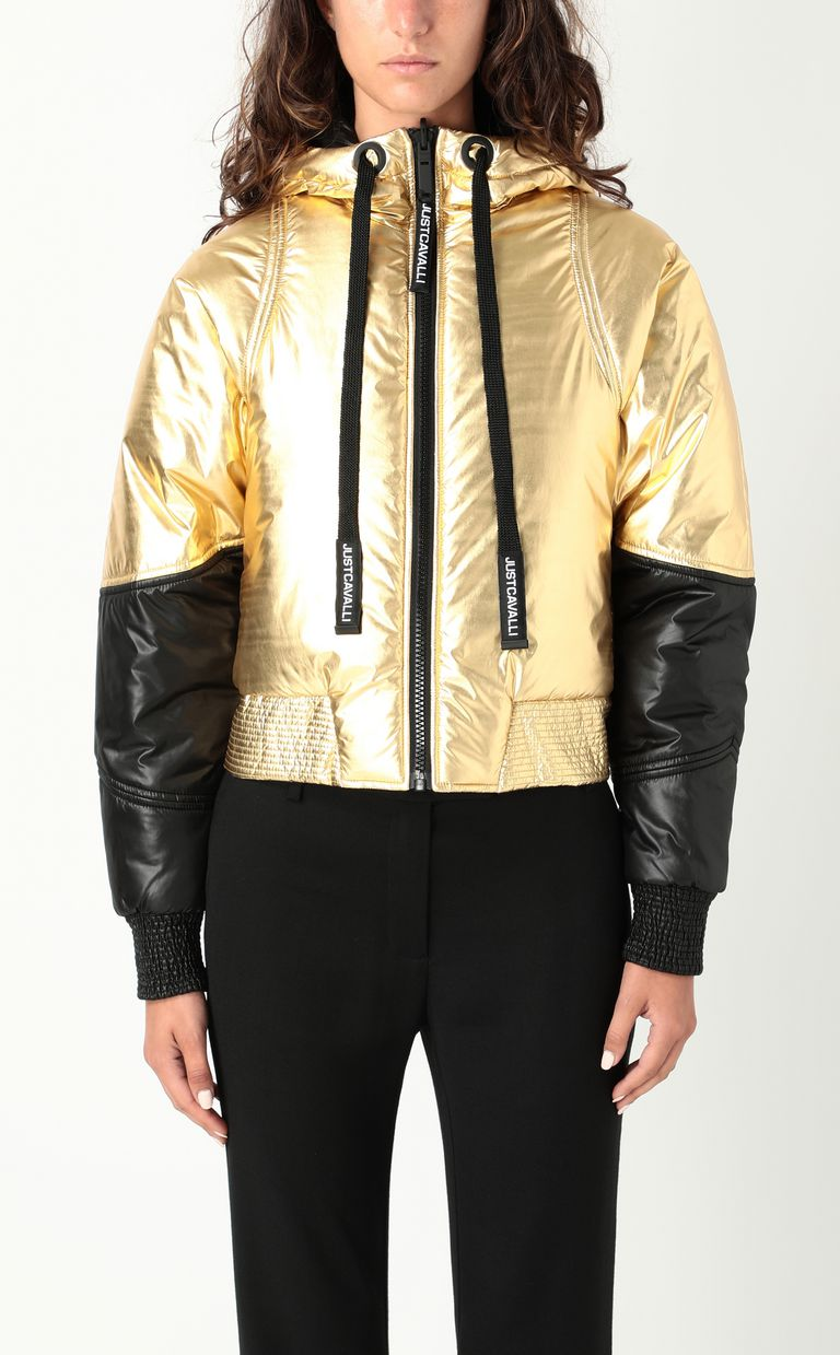 JUST CAVALLI Gold-tone short padded jacket Down jacket Woman r