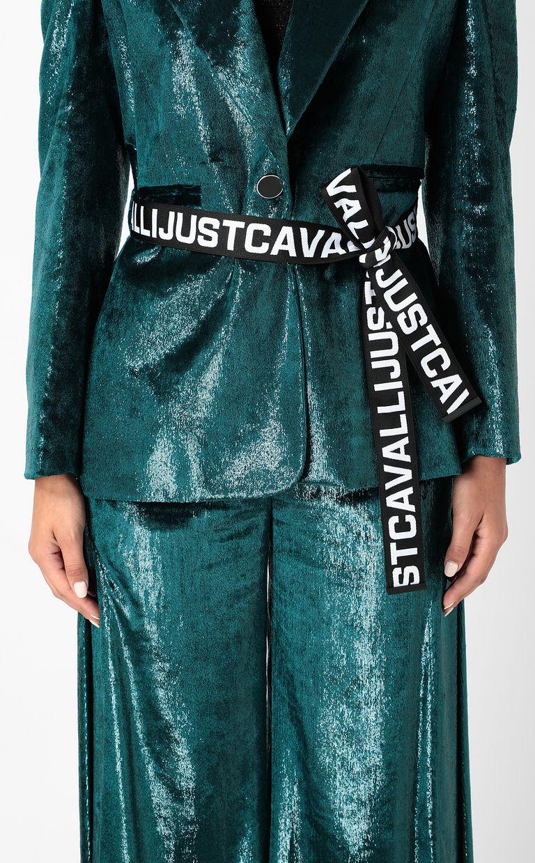 JUST CAVALLI Wet-velvet jacket with tape detail Blazer Woman e
