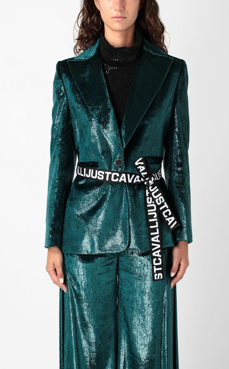 JUST CAVALLI Wet-velvet jacket with tape detail Blazer Woman r