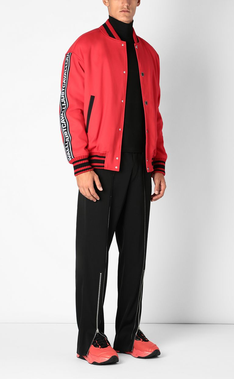JUST CAVALLI Bomber jacket with logoed tape Jacket Man d
