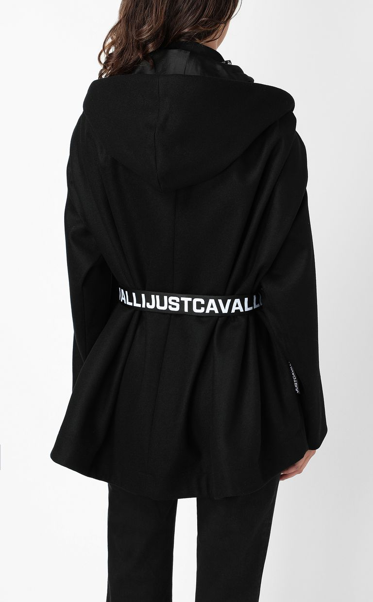 JUST CAVALLI Hooded jacket with logo tape Coat Woman a