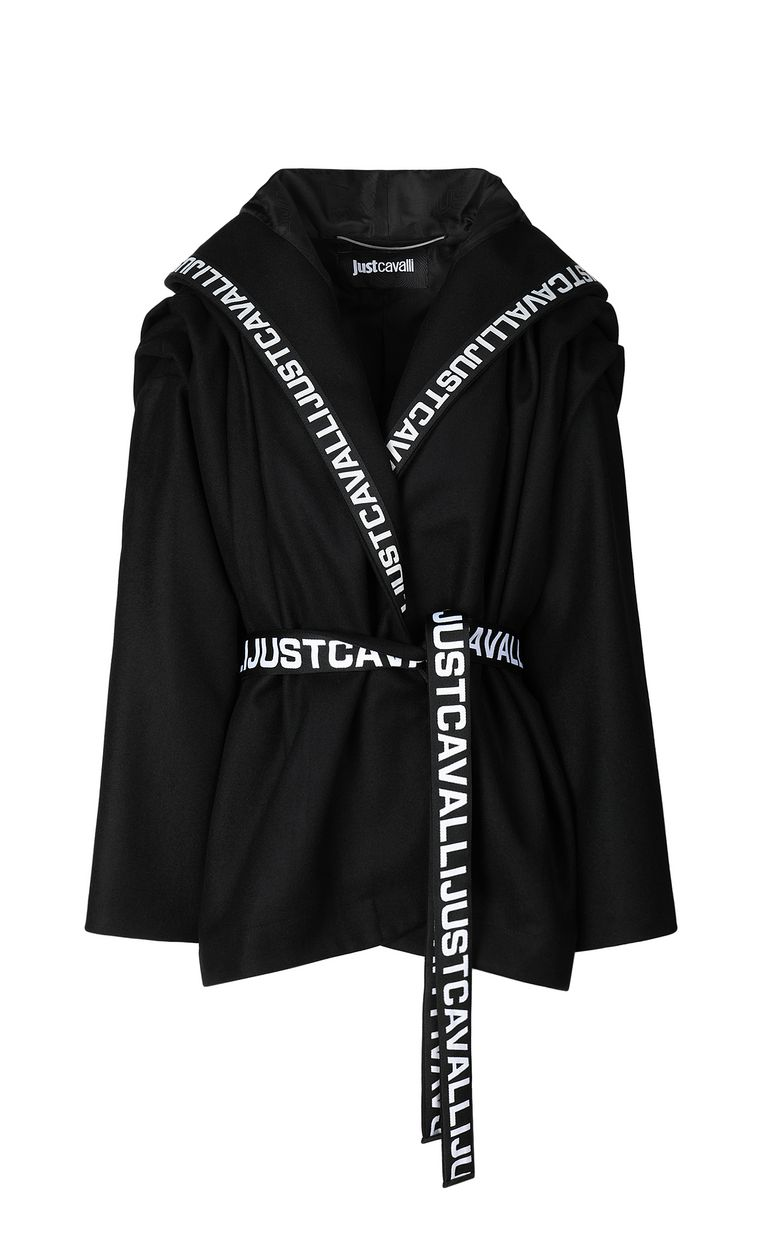 JUST CAVALLI Hooded jacket with logo tape Coat Woman f