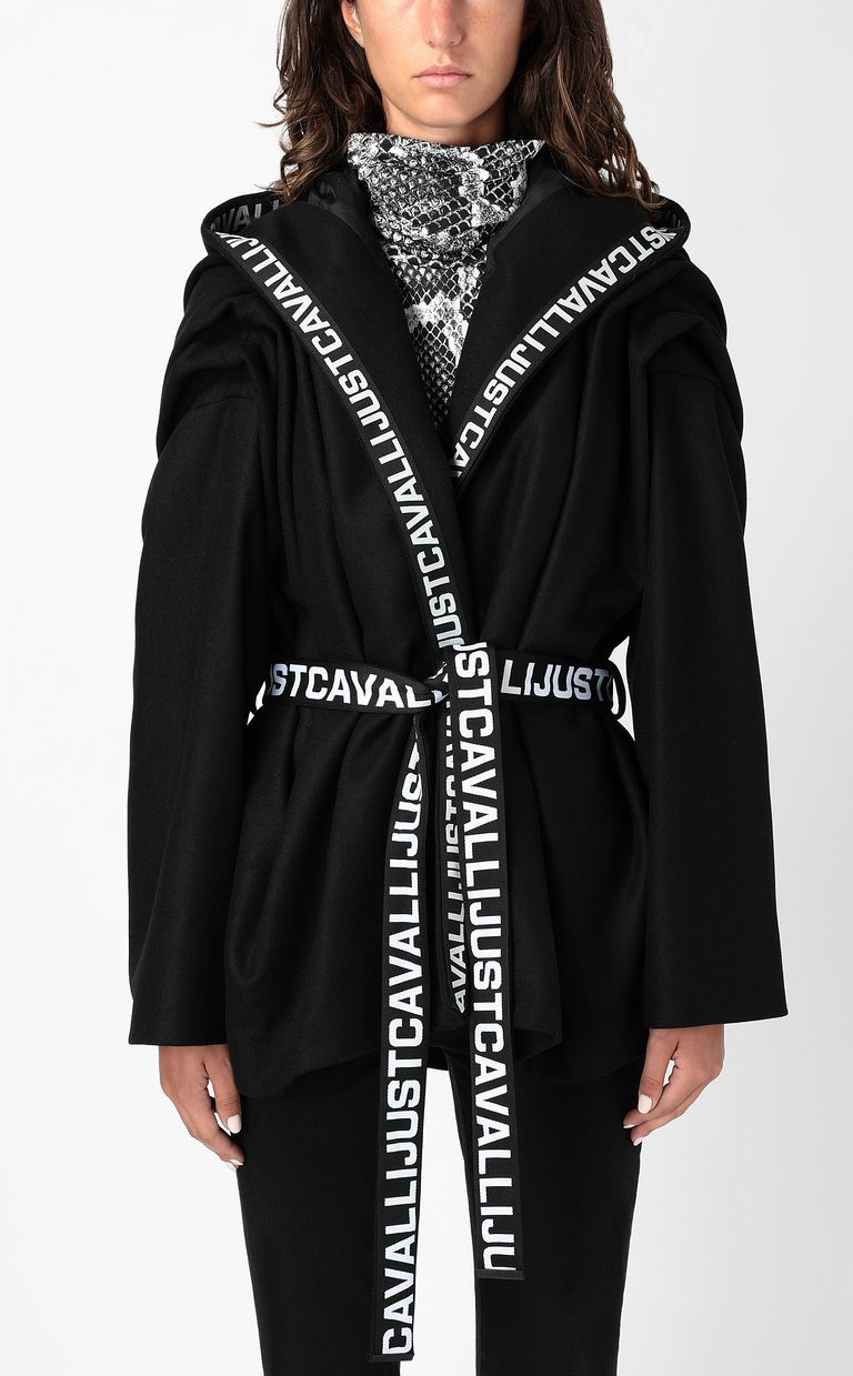 JUST CAVALLI Hooded jacket with logo tape Coat Woman r
