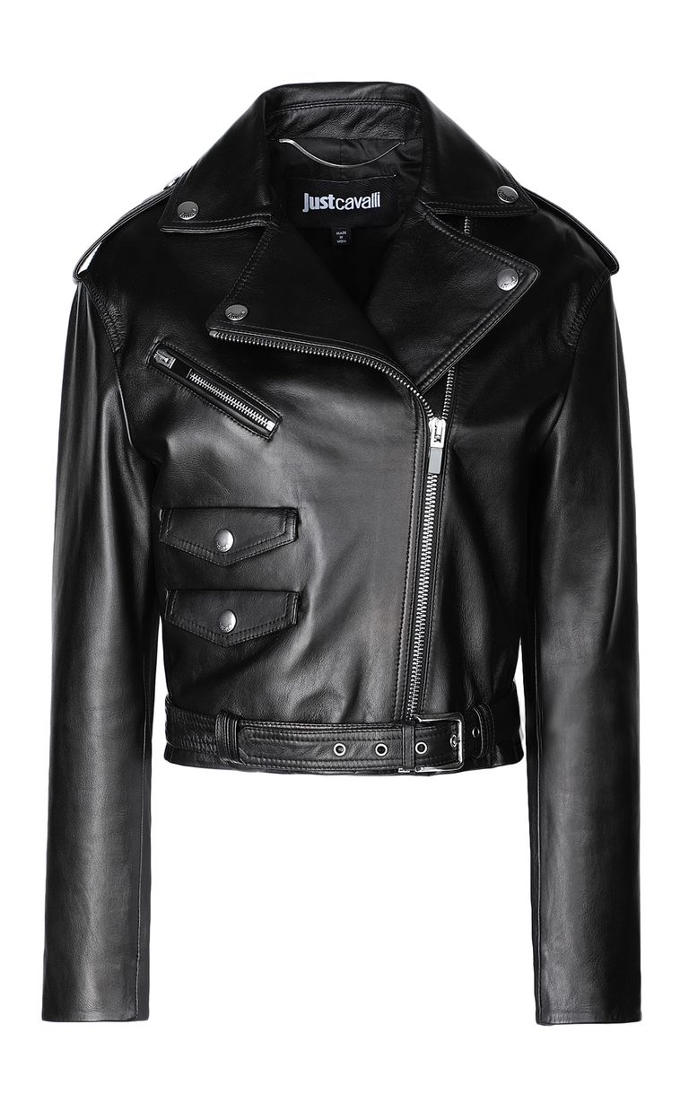 JUST CAVALLI Biker-style leather jacket Leather Jacket Woman f