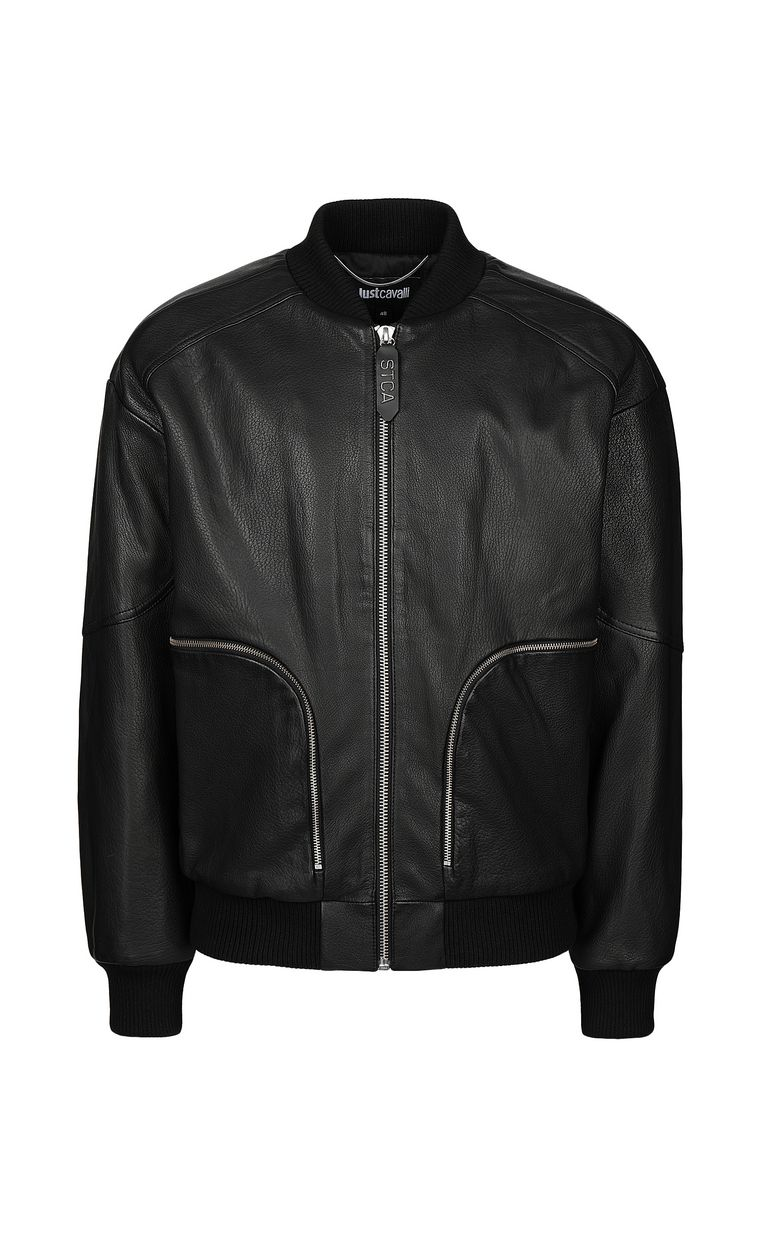JUST CAVALLI Leather bomber jacket Leather Jacket Man f