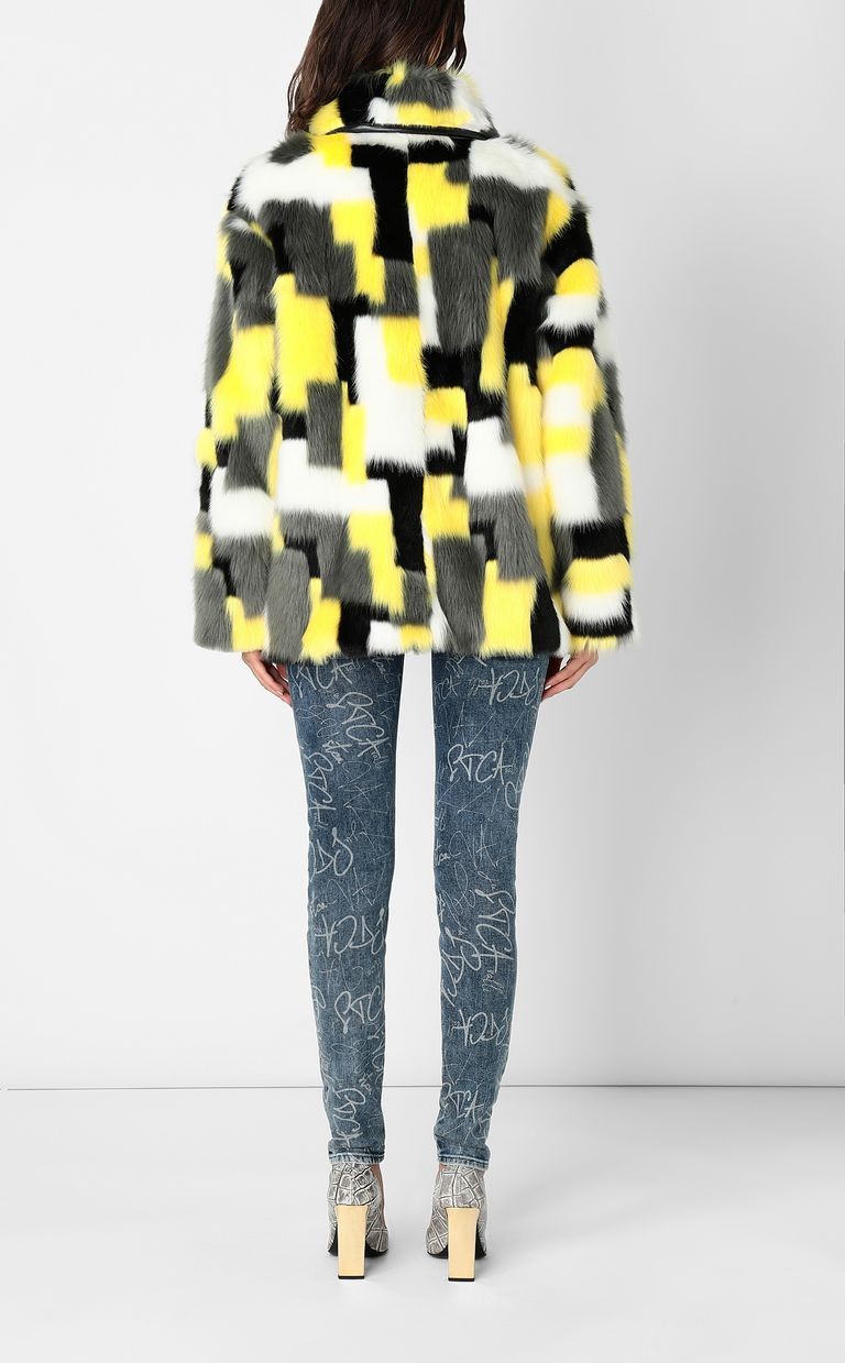 JUST CAVALLI Multicoloured faux-fur coat Fur Woman a