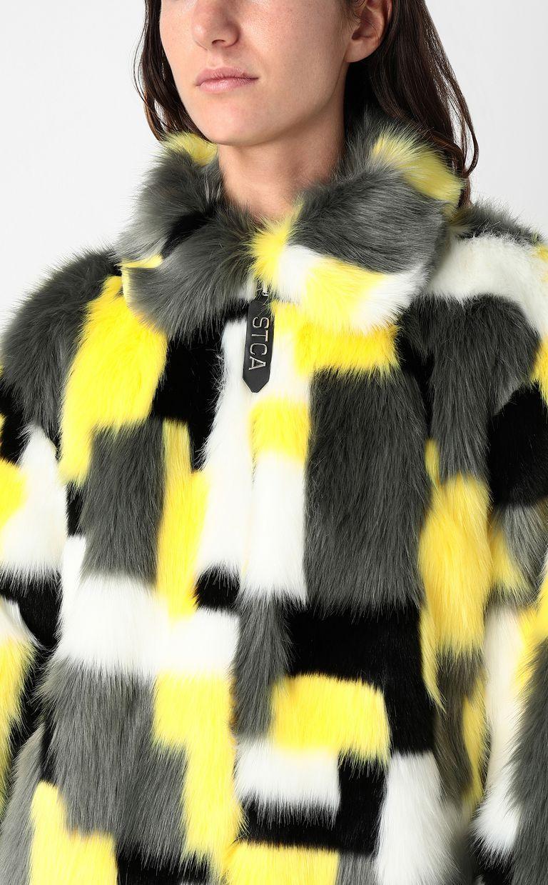 JUST CAVALLI Multicoloured faux-fur coat Fur Woman d