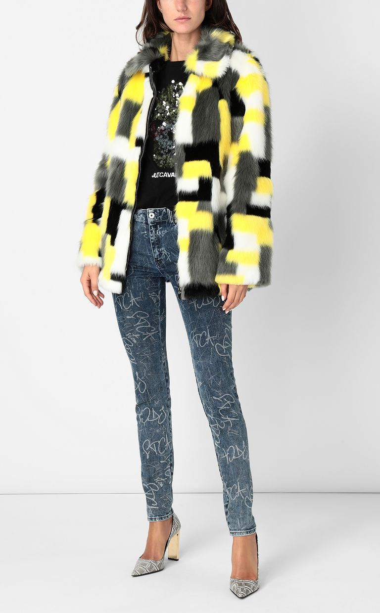 JUST CAVALLI Multicoloured faux-fur coat Fur Woman e