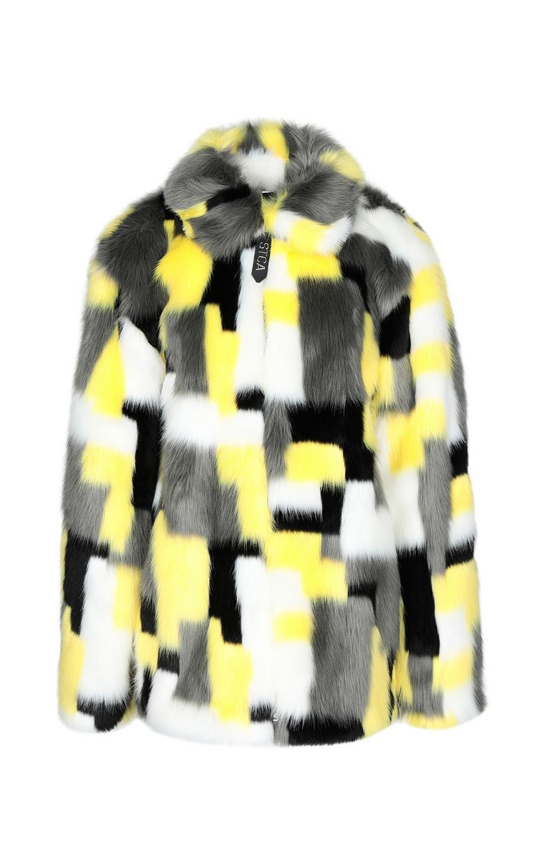 JUST CAVALLI Multicoloured faux-fur coat Fur Woman f
