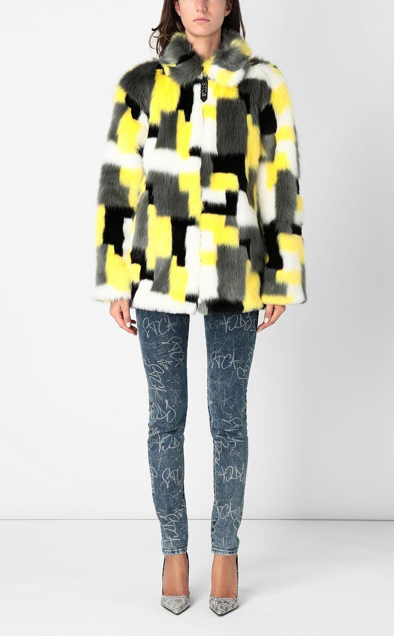 JUST CAVALLI Multicoloured faux-fur coat Fur Woman r