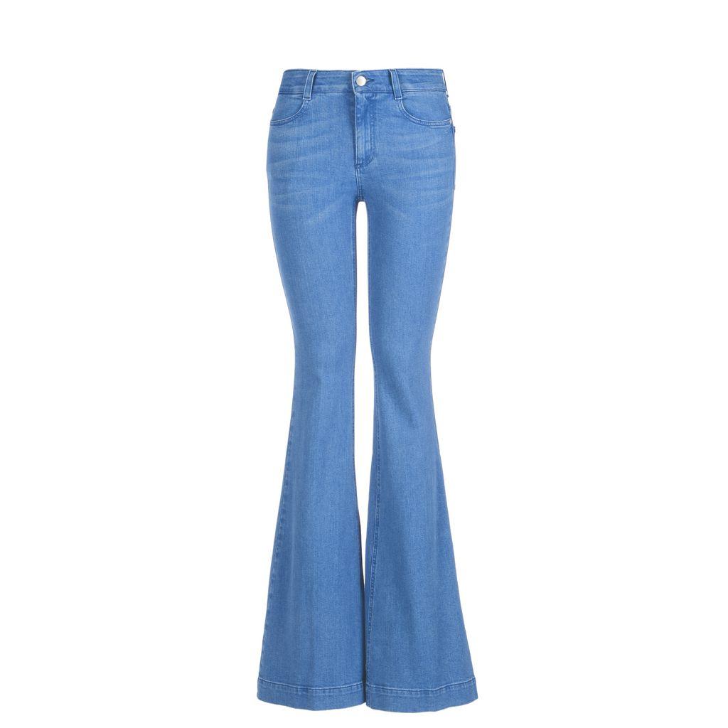pantalon pattes d 39 l phant bleu supr me ann es 70 stella mccartney. Black Bedroom Furniture Sets. Home Design Ideas
