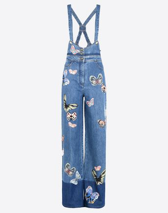VALENTINO Embroidered denim dungarees  42481104IF