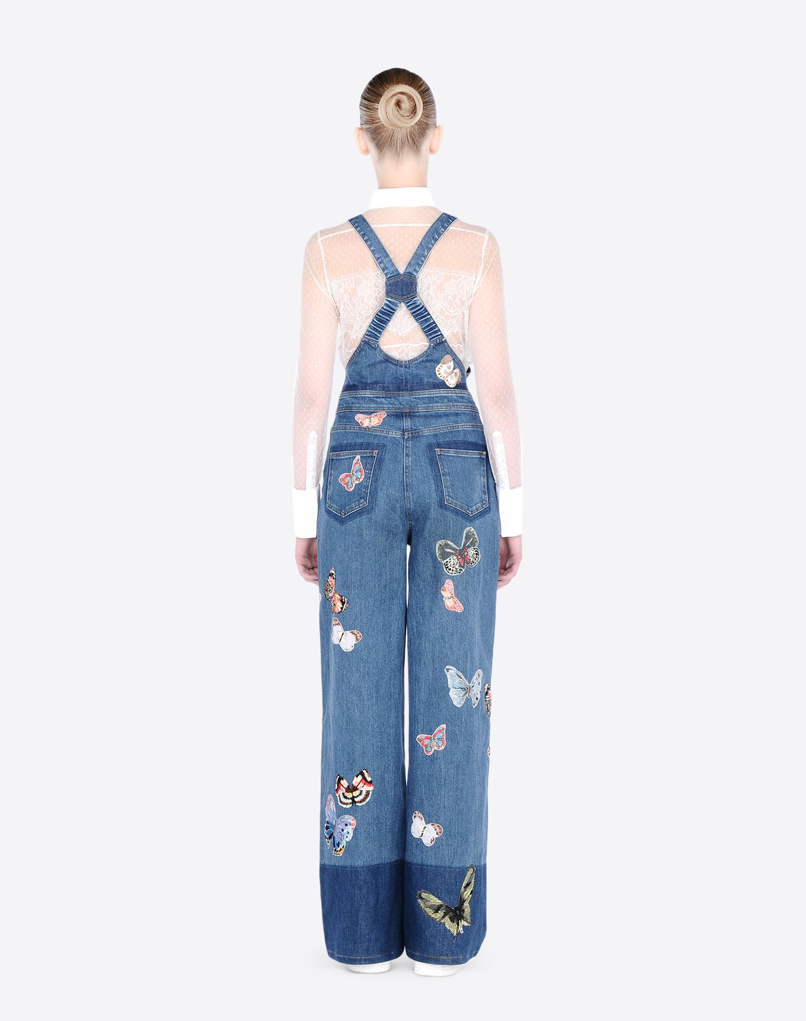 VALENTINO Embroidered denim dungarees DENIM D a