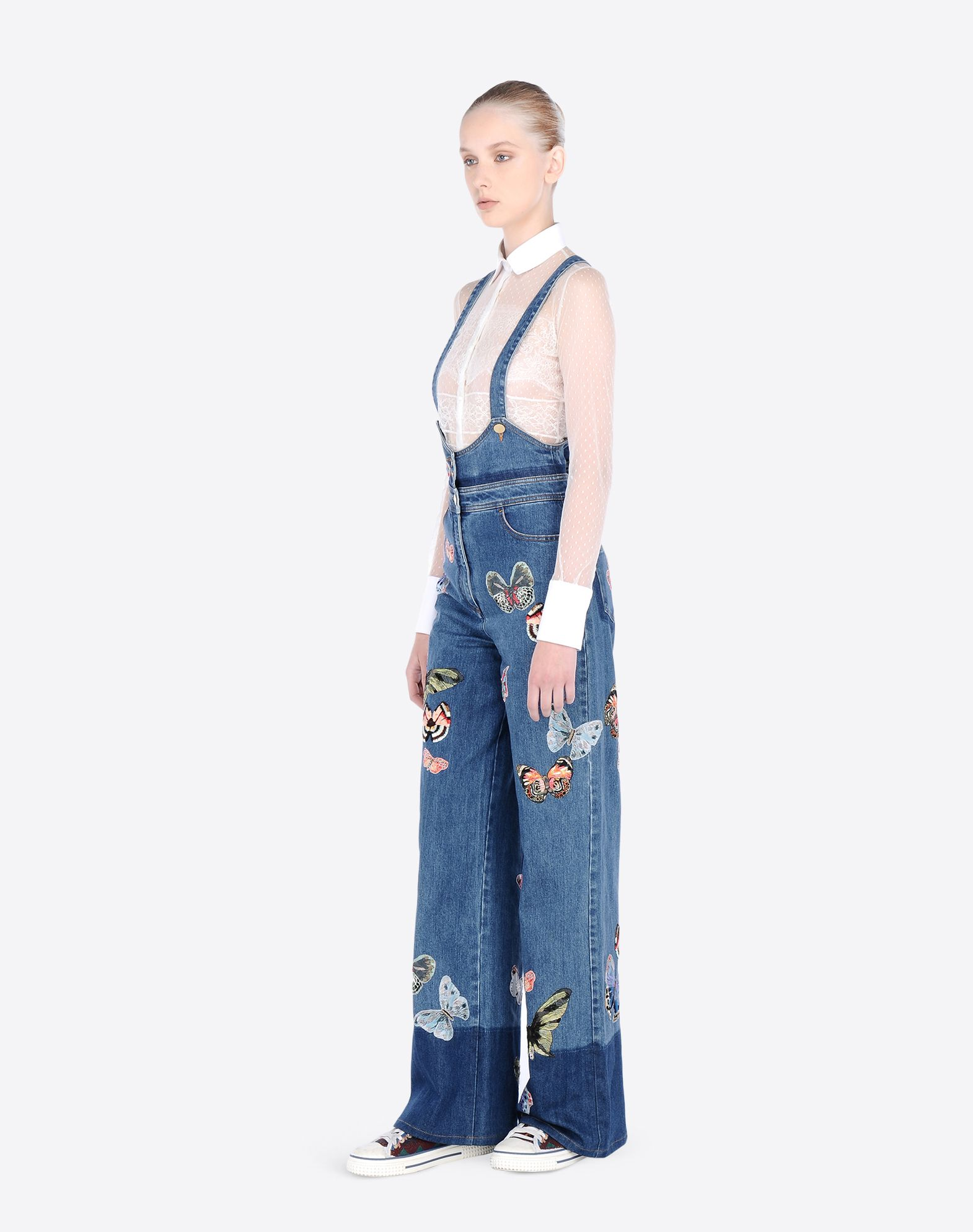 VALENTINO Embroidered denim dungarees DENIM D d