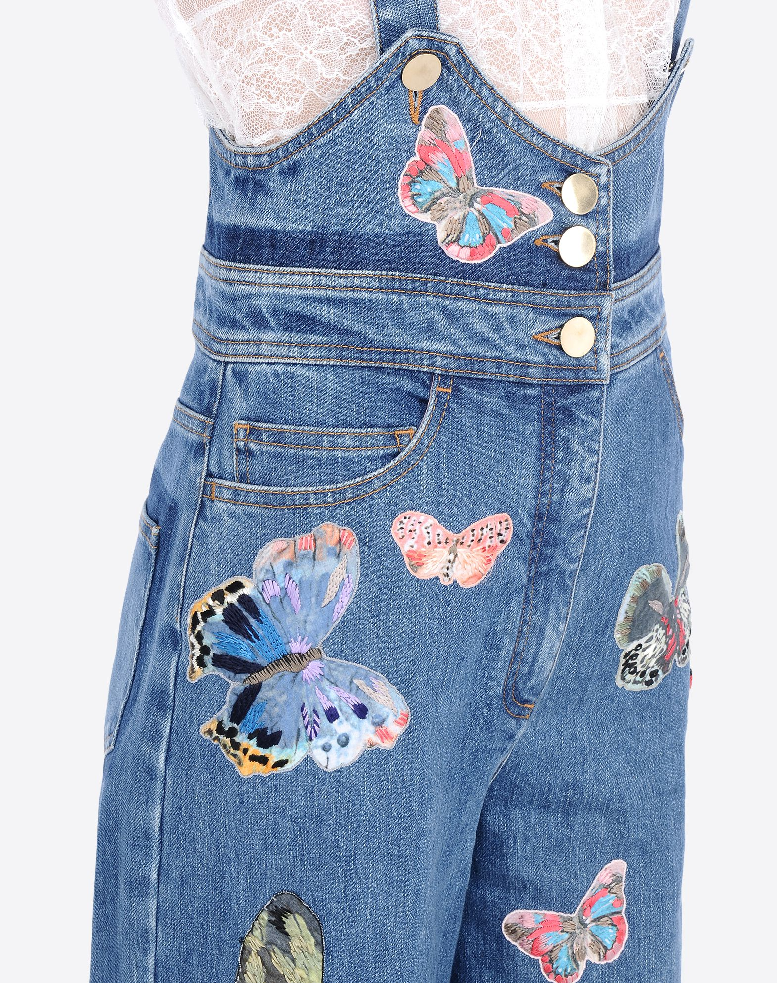 VALENTINO Embroidered denim dungarees DENIM D e