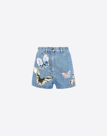 VALENTINO Shorts in embroidered denim  42481105BU
