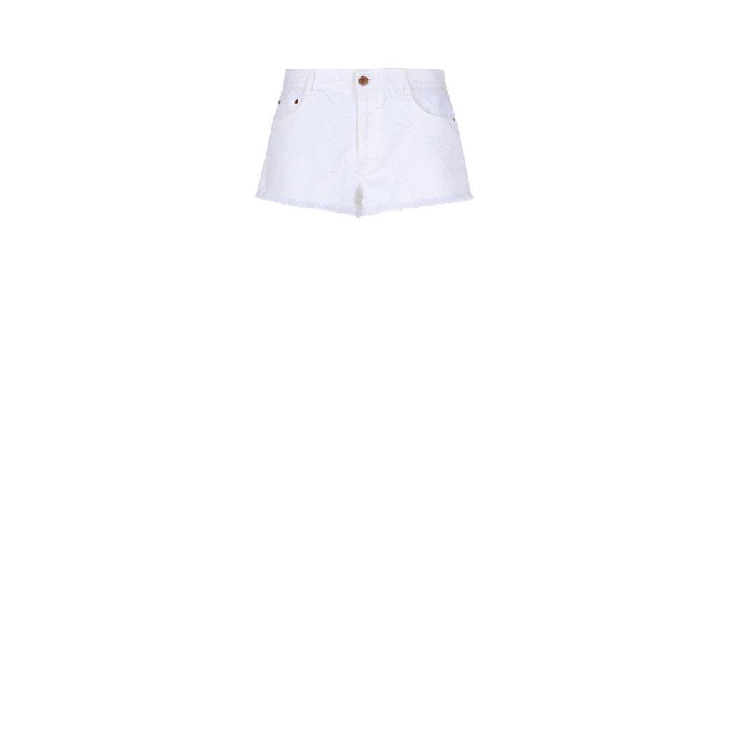 White Fringed Stars Shorts - STELLA MCCARTNEY