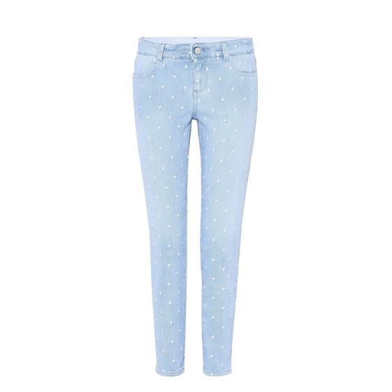 Enge Ankle Grazer Jeans mit weißen Sternen